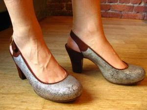 Silver & chocolate suede shoes